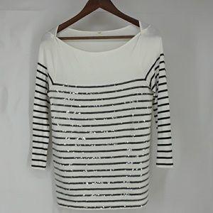 J. Crew White & Black Sequined Shirt Sz Small